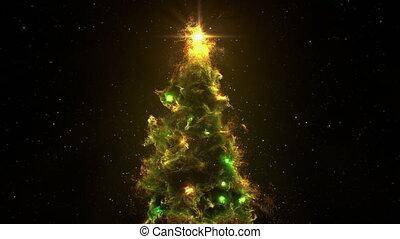 3D Space Flight Around Christmas Tree Nebula in Space Full...