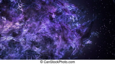 3D Space Flight Around Massive Purple Nebula - High quality...