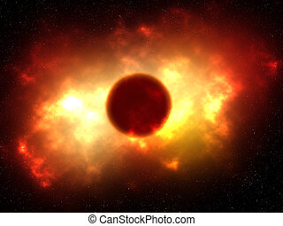 3D space scene with fiery planet with explosion effect