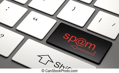 (3d, spam, botão, illustration)., teclado computador