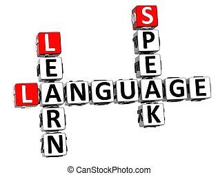 3D Spanish Language Crossword on white background