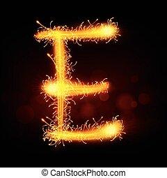 3d sparkler firework letter E