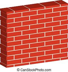 3D, Spatial Brick wall, brickwork with regular pattern ...