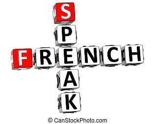 3D Speak French Crossword on white background