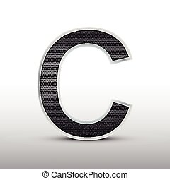 3d speaker grille letter C