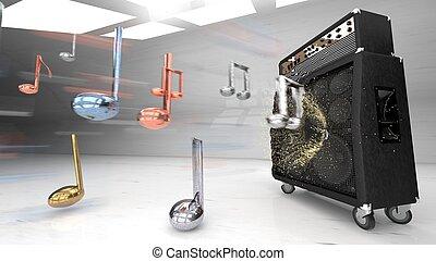 3d speakers, guitar amplifier making loud sound, 3d rendering
