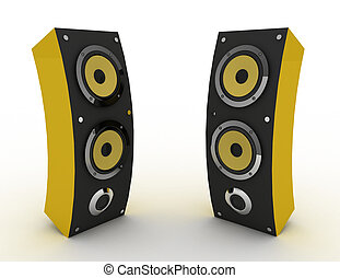 3d speakers. media concept . 3d rendered illustration