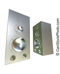 3d speakers - 3d rendered illustration of two silver...