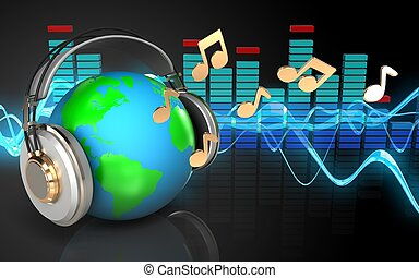 3d spectrum earth in headphones - 3d illustration of earth...