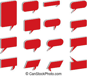 3D Speech And Thought Bubbles in red
