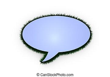 3D speech balloon with grass