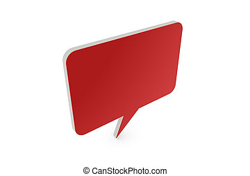 3D speech balloon with red front