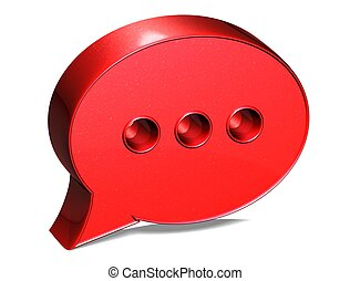 3D Speech Bubble Red Sign on white background