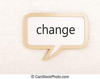 3d Speech bubble with change