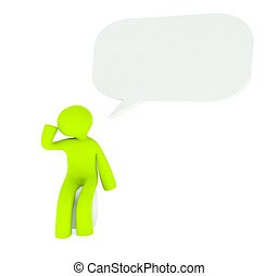 3d speech bubble with thinking man