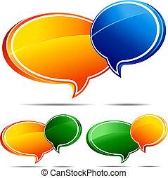 3D Speech bubbles - Speech bubbles Orange and Blue , Orange...