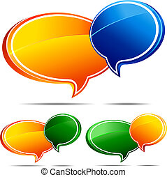 Speech bubbles Orange and Blue , Orange and Green and Green and Orange - All elements are grouped and on individual layers in the vector file for easy use.