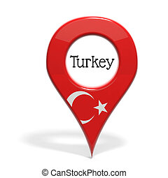 3d, speldenpunt, met, vlag, van, turkije, vrijstaand, op wit