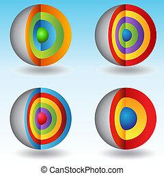 3d, sphère, posé couches, diagrammes, noyau