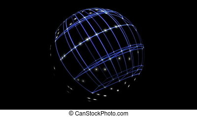 3D Sphere Cyber Space Network Antimation