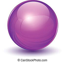 3D sphere, violet vector ball.