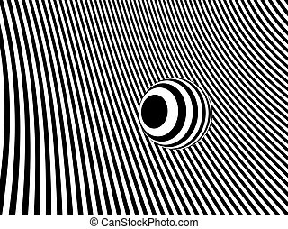 3d Sphere on striped monochrome background - 3d render of...