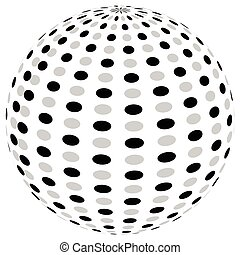 3d sphere orb with textured grayscale surface on white. Abstract 3d object