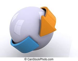 3D sphere with arrows - White sphere with orange and blue ...