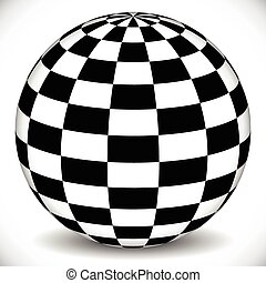 3d sphere with checkered (chequered) surface on white