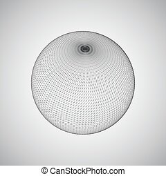 3D sphere with global line connections. Futuristic vector...