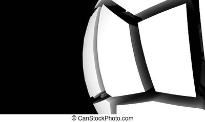 3d sphere with parts in space, abstract technology background, geometric digital 3d render backdrop