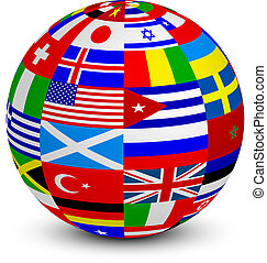 3d sphere with world flags - Vector illustration of 3d...
