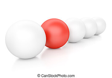 Individuality - 3d Spheres Isolated on White. Individuality...