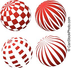 3D spheres with patterns - stripy and checked