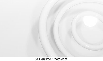 Animation of multiple 3d white bubbles moving in seamless loop in repetition on white background. Colour and movement concept digitally generated image.