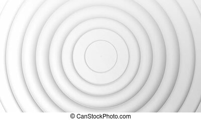 Animation of multiple 3d white circles moving in seamless loop in repetition on white background. Colour and movement concept digitally generated image.