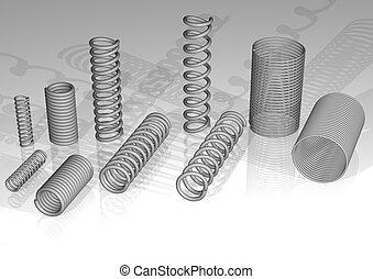 3d spiral, spring - 3d rendering, a few kinds of springs