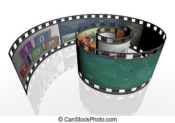 3d, spirale, striscia cinematografica
