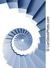 3d, spiralne schody, odizolowany
