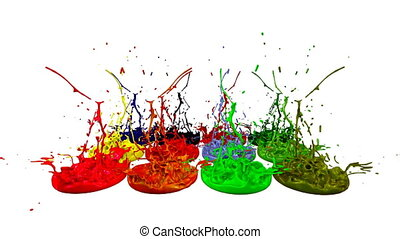 3d splashes of liquid. Paint bounce in 4k on white background. Simulation of splashes of ink on a musical speaker that play music. multicolor version 7