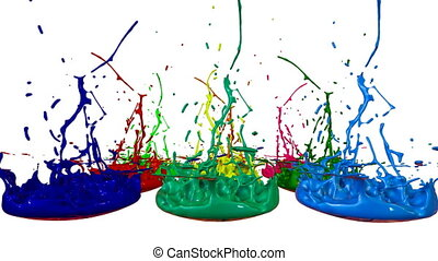 3d splashes of liquid. Paint bounce in 4k on white background. Simulation of splashes of ink on a musical speaker that play music. multicolor version 1