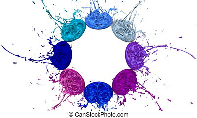 3d splashes of liquid. Paint bounce in 4k on white background. Simulation of splashes of ink on a musical speaker that play music. version shades of blue 7