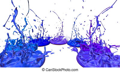 3d splashes of liquid. Paint bounce in 4k on white background. Simulation of splashes of ink on a musical speaker that play music. version shades of blue 10