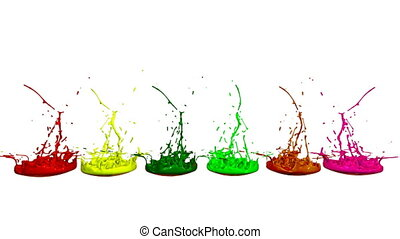 3d splashes of liquid. Paint bounce in 4k on white background. Simulation of splashes of ink on a musical speaker that play music. multicolor version 2