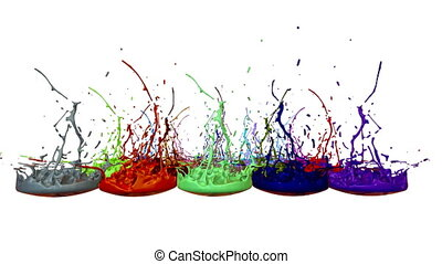 3d splashes of liquid. Paint bounce in 4k on white background. Simulation of splashes of ink on a musical speaker that play music. multicolor version 5