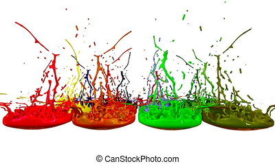 3d splashes of liquid. Paint bounce in 4k on white background. Simulation of splashes of ink on a musical speaker that play music. multicolor version 8