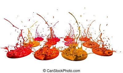 3d splashes of liquid. Paint bounce in 4k on white background. Simulation of splashes of ink on a musical speaker that play music. version shades of red 3