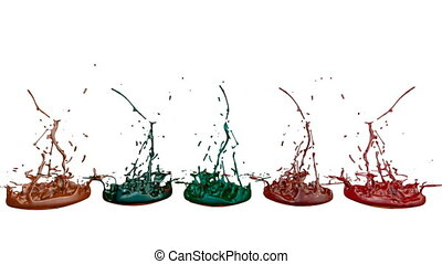 3d splashes of liquid. Paint bounce in 4k on white background. Simulation of splashes of ink on a musical speaker that play music. multicolor version 3