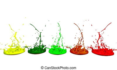 3d splashes of liquid. Paint bounce in 4k on white background. Simulation of splashes of ink on a musical speaker that play music. multicolor version 4