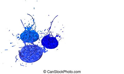 3d splashes of liquid. Paint bounce in 4k on white background. Simulation of splashes of ink on a musical speaker that play music. version shades of blue 11